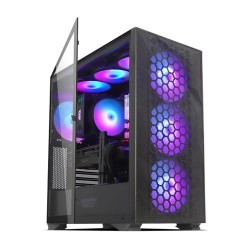 DARKFLASH DLX-21 Mesh ATX Mid Tower Gaming Casing Komputer - Black