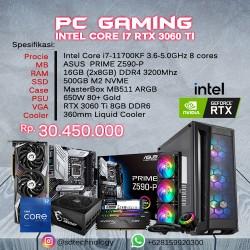 PC Rakitan Gaming INTEL Core i7-11700KF 16GB DDR4 500GB SSD VGA GeForce RTX 3060 Ti 8GB